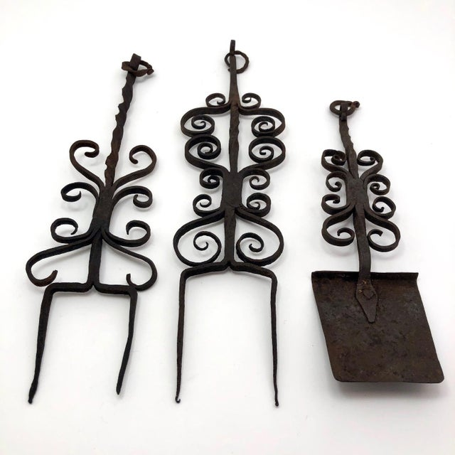Antique Hand Forged Wrought Iron Utensils Rack, Forks and Spatula For Sale - Image 4 of 13