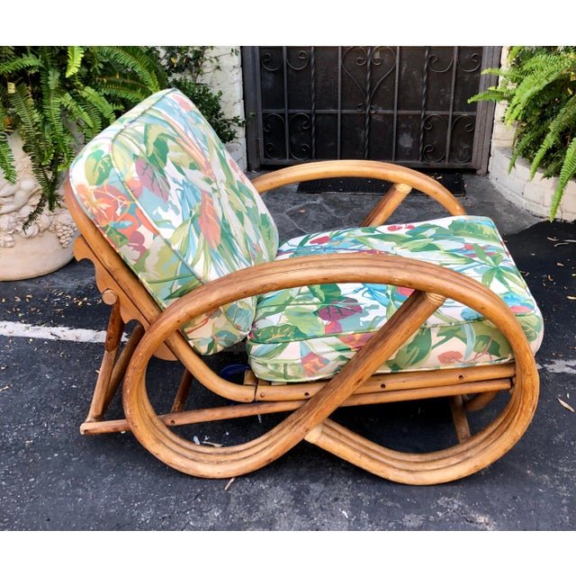 1950's Bent Rattan Adjustable Triple Banded Bamboo Lounge Chair For Sale In Los Angeles - Image 6 of 7