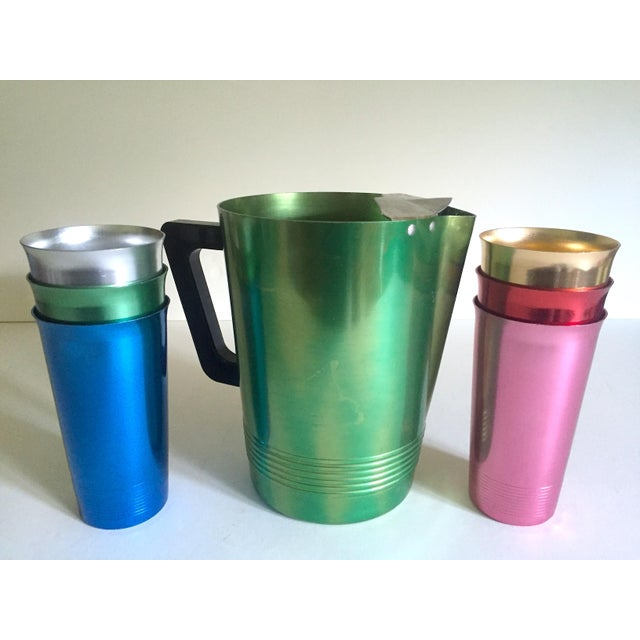 Metal Vintage Mid Century Modern Rare Anodized Spun Aluminum Multicolor Beverage Set - 7Pc For Sale - Image 7 of 12
