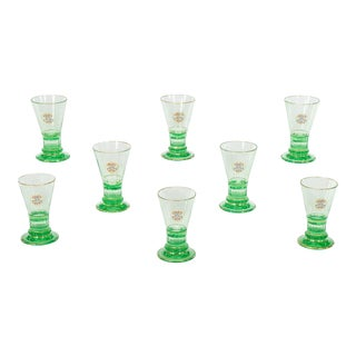 Set of Eight Signed Lobmeyr Apple Green Cocktail Glasses with Enamel Monograms For Sale