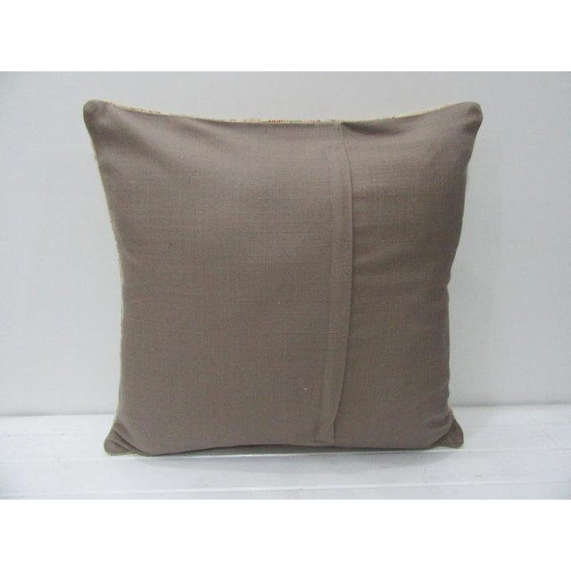 Contemporary Vintage Turkish Tan & Beige Floral Cushion Cover For Sale - Image 3 of 4