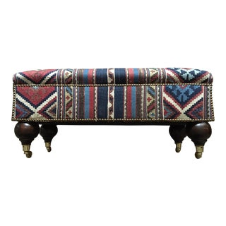 1990s Vintage Antique Kilim Covered Ottoman For Sale