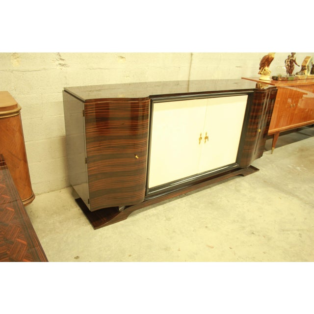 Classic French Art Deco Macassar Sideboard or Bar With Parchment Center Door By Maurice Rinck , Circa 1940s. - Image 8 of 11