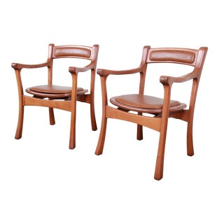 Sculpted Solid Teak and Leather Studio Crafted Club Chairs, Circa 1960s For Sale