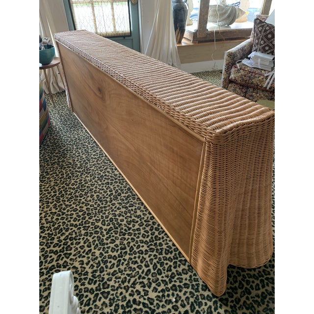 Transitional Draped Wicker Console Table For Sale - Image 3 of 4