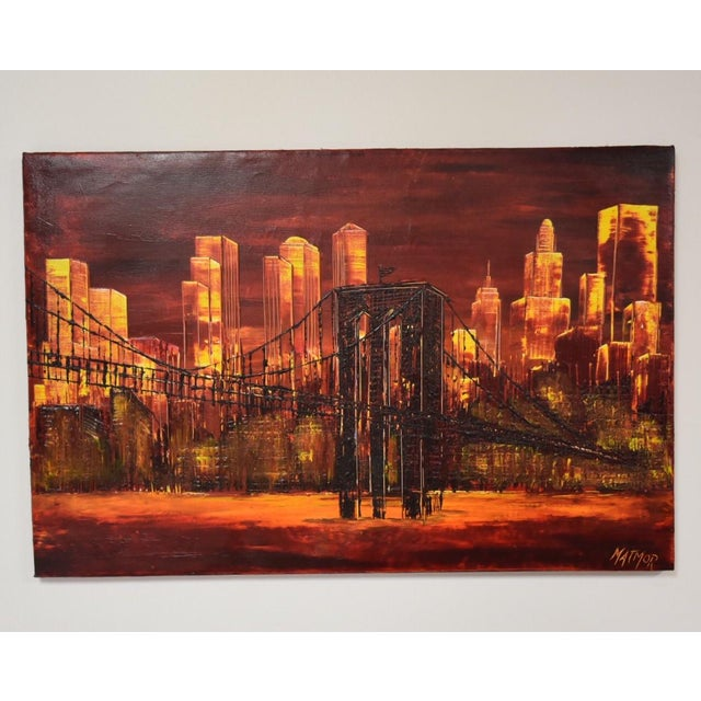 """A vibrant orange and red impressionist cityscape painting signed by Jude Matmor and titled """"Hoy Te Vendo"""""""
