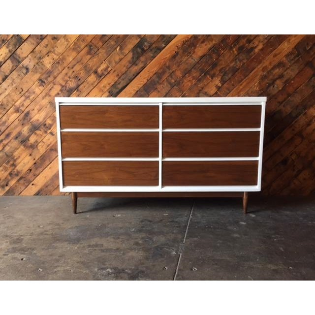 Mid Century Refinished Walnut/White Lacquer 6 Drawer Dresser newly refinished and lacquered in white, 6 drawers, plenty of...