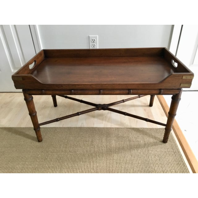Faux Bamboo 1970s Vintage Faux Bamboo Campaign Style Tray Table For Sale - Image 7 of 7