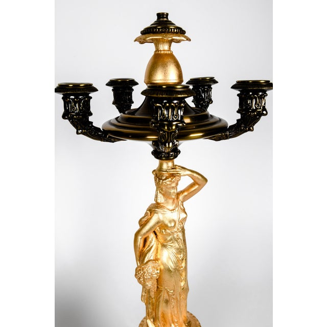 Antique French Five Arms Bronze and Porcelain Candelabras - a Pair For Sale - Image 11 of 13