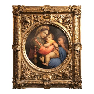 Antique 19th Century Italian Painting of Raphael's 'Madonna & Child' in Its Original Venetian Frame, Circa 1890-1910. For Sale