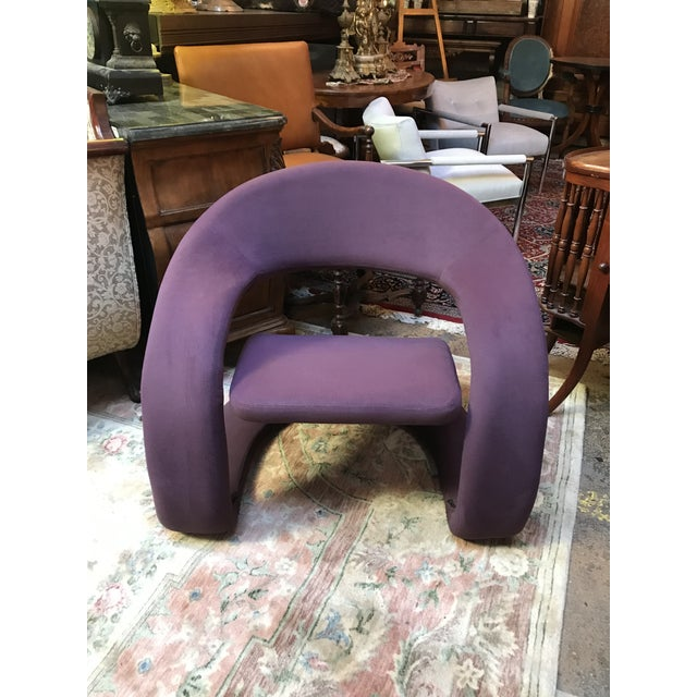 Mid Century Modern Jaymar Memphis Sculptural Cantilever Lounge and Ottoman in Purple Fabric For Sale - Image 4 of 13