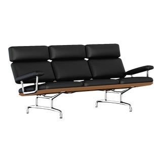 Eames® Black Leather & Wood 3 Seater Sofa For Sale