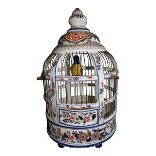 Large Charming Vintage French Faience Birdcage For Sale