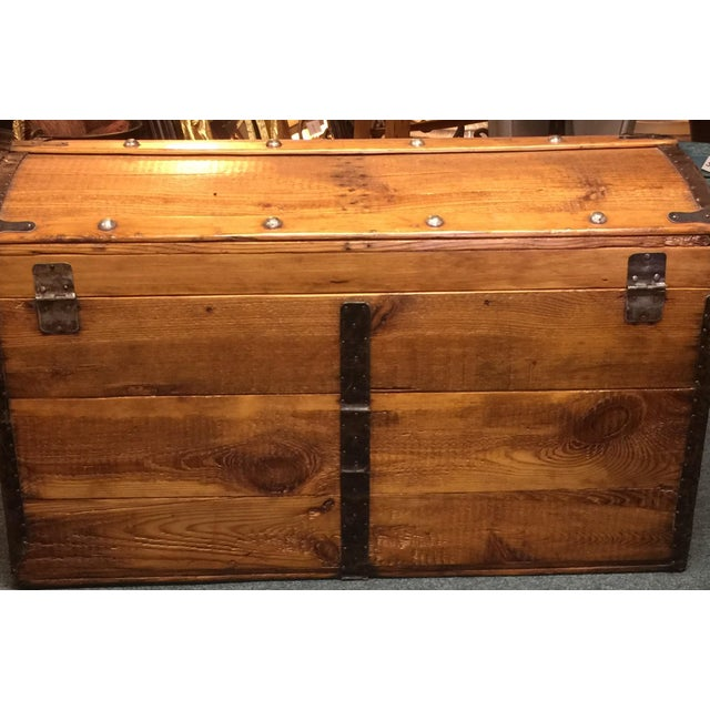 Antique Camelback Wooden Trunk - Image 5 of 6