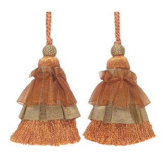 "8"" Coral Skirted Tassels, Pair For Sale"