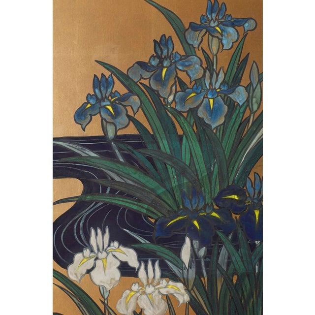 Blue Japanese Six-Panel Meiji Screen of Egrets on Gold Leaf For Sale - Image 8 of 13