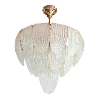 Pair of Mid-Century Modern Murano Glass and Plated Gold Chandeliers by Mazzega For Sale