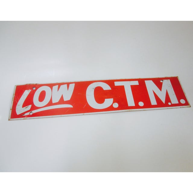 Low C.T.M. Salvaged Industrial Metal Enamel Sign - Image 3 of 3
