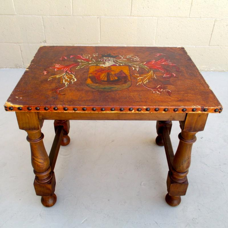 Gothic Spanish Antique Painted Leather Top Stacking Tables Nesting Tables  For Sale   Image 3 Of