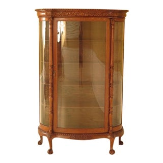 Antique Victorian Oak Claw Foot Bowed Glass China Cabinet