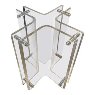 Vintage Lucite Geometric Peg Entry, Center or Dining Table Base For Sale