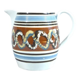 Mocha Pearlware Jug with Double Earthworm Design