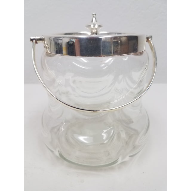 Glass Antique English Crystal Glass Silverplate Biscuit Jar For Sale - Image 7 of 7