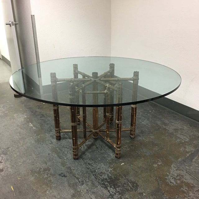 McGuire Bamboo & Glass Dining Table - Image 3 of 8