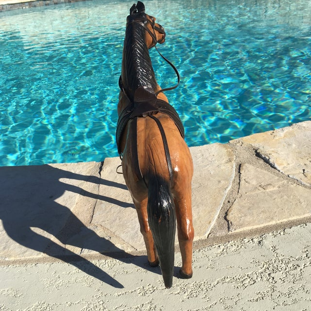 Vintage Equestrian Leather Saddled Horse - Image 5 of 10