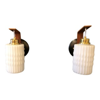 French Mid-Century Modern Wall Sconces with Wood, Brass and Glass - A Pair For Sale