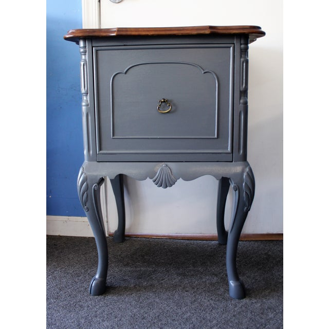 Country French Charcoal Gray Side/End Table - Image 2 of 10