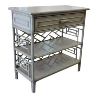 David Frances Chippendale Gray Rattan Side Table