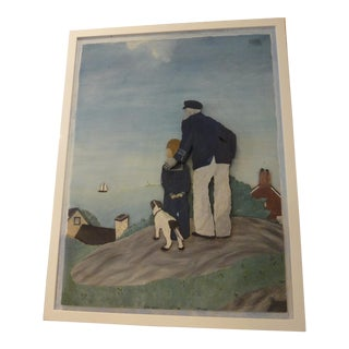 Folk Art 2-Dimensional of Old Captain & Young Boy Painting For Sale