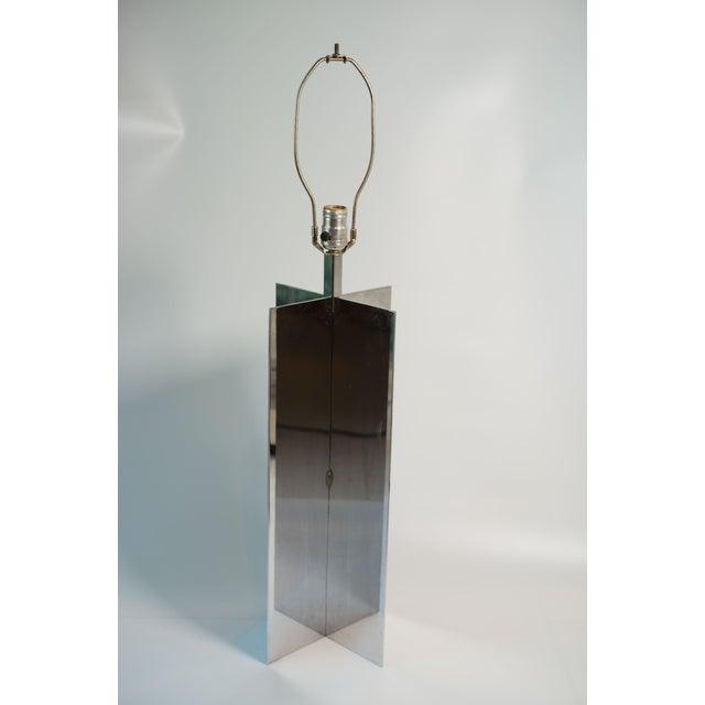 Vintage Jean Michael Frank Croisillon Style Chrome Table Lamp For Sale - Image 4 of 4
