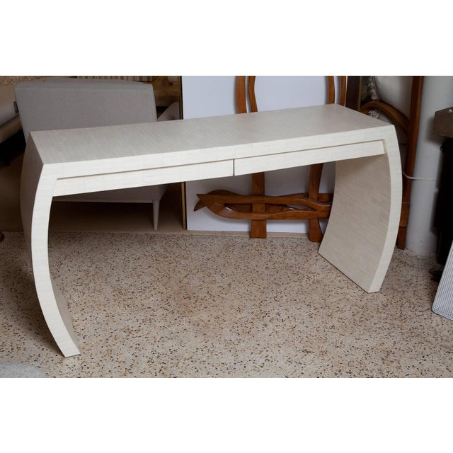 Bone Fully Restored Tessellated Bone Two-Drawer Console by Enrique Garces C. 1980 For Sale - Image 7 of 13