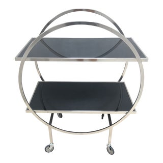 1990s Modern Black Glass Bar Cart For Sale