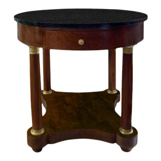 Vintage French Side Table With Marble Top For Sale