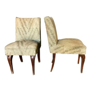 Italian 40s Walnut Slipper Chairs - A Pair For Sale
