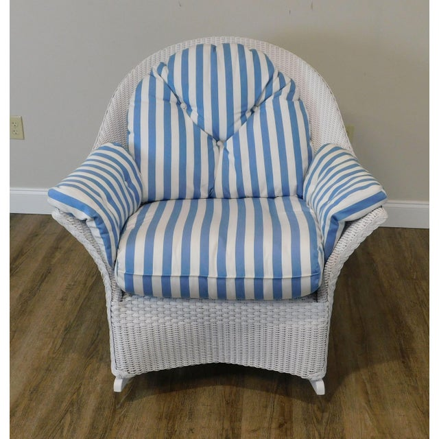 LLoyd Flanders White Wicker Pair Patio Porch Rockers For Sale - Image 9 of 13
