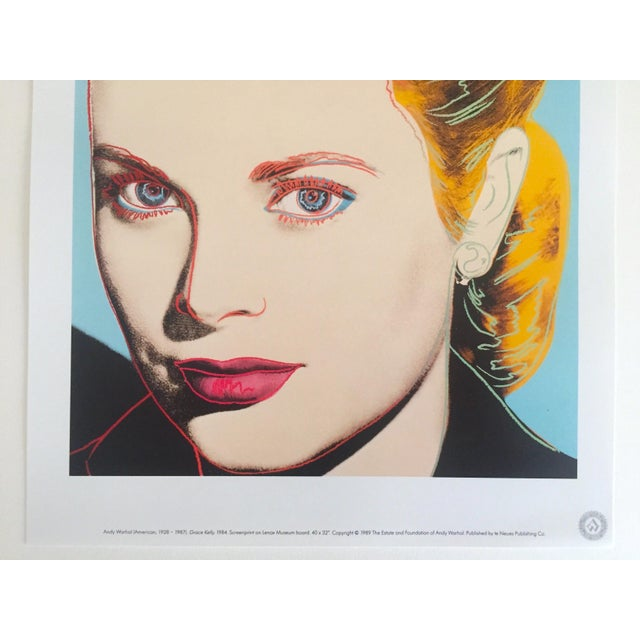 "Pop Art Andy Warhol Estate Vintage 1989 Pop Art Lithograph Print "" Grace Kelly "" 1984 For Sale - Image 3 of 10"