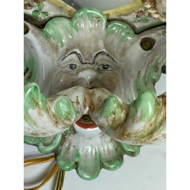 Ceramic 19th Century Italian Porcelain Sconces With Faces - a Pair For Sale - Image 7 of 10