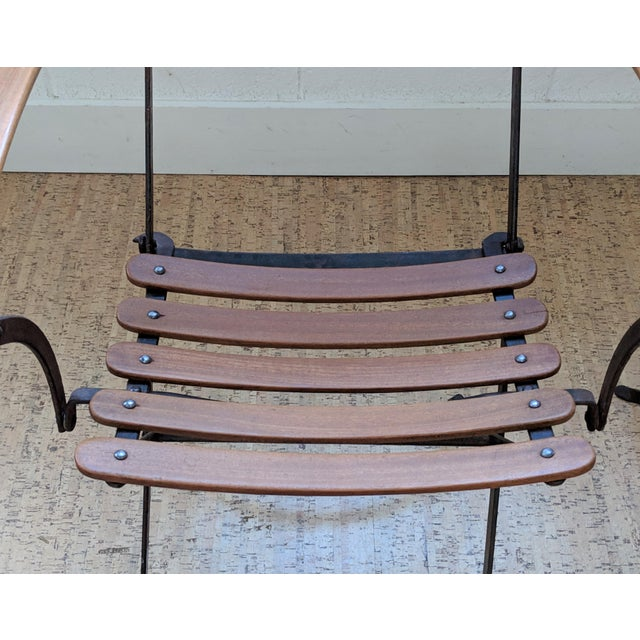 French Country Antique Iron & Teak Garden Chairs – a Pair For Sale - Image 10 of 12