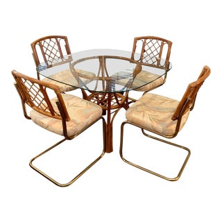 Vintage Bohemian Rattan & Golden Dining Set For Sale