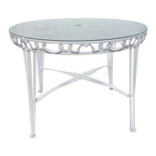 1960s French Round Metal GardenTable For Sale