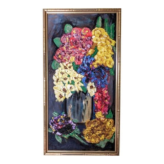 Vintage Floral Oil Painting in Giltwood Bamboo Frame For Sale