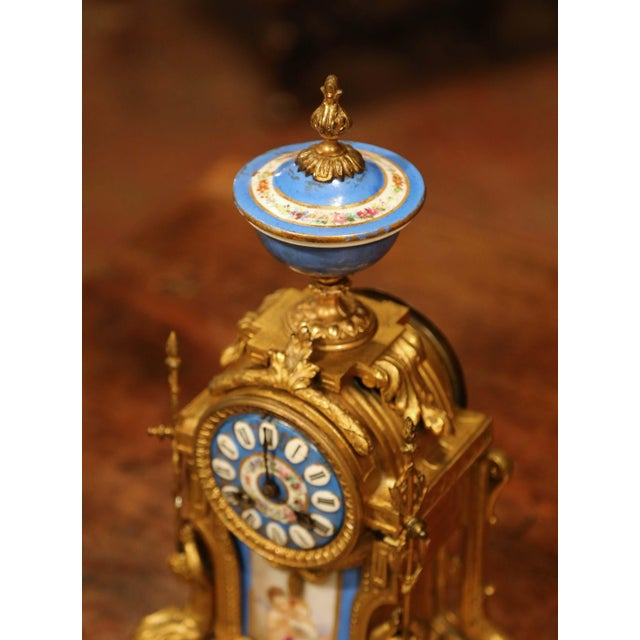 Gold 19th Century French Louis XVI Gilt Metal and Porcelain Mantel Clock For Sale - Image 8 of 11