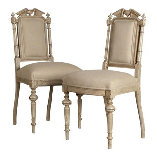19th Century Antique French Napoleon III Period Painted Chairs - a Pair For Sale