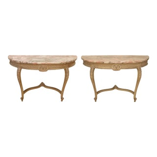 Louis XVI Style Marble Top Demi-Lune Console Tables - a Pair For Sale