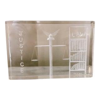 Vintage Lucite Sculptured Optical Art Signed M. Cox For Sale