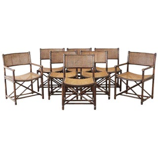 Set of Eight McGuire Bamboo Rattan Cane Dining Chairs For Sale